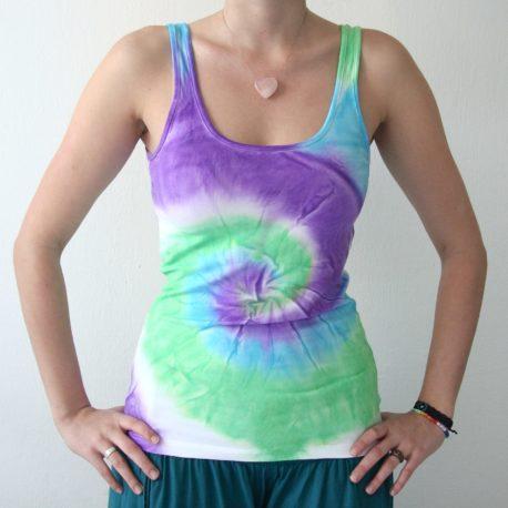 modro zeleno fialova batika tielko spirala