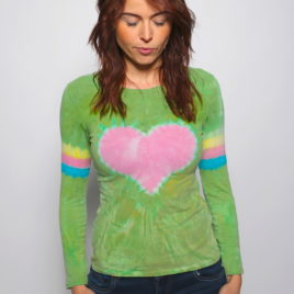 Tričko so srdcom dlhý rukáv pruhy